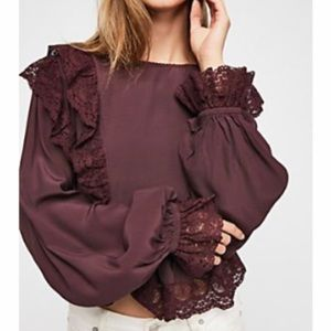 Free people Lace trimed blouse